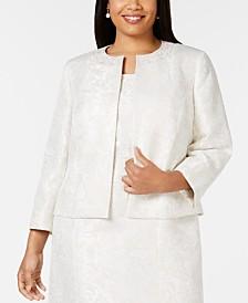 Kasper Plus Size Embellished-Neck Jacquard Jacket