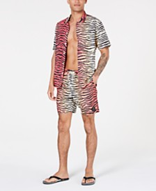 Neff Men's Daily Woven Graphic Shirt and Hot Tub Shorts