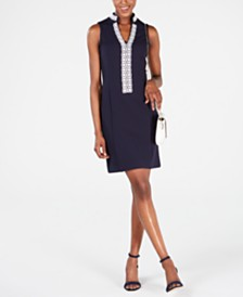 Pappagallo Embroidered Waffle-Knit Dress