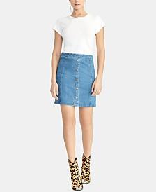 RACHEL Rachel Roy Snap-Front Denim Mini Skirt