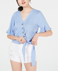 Gypsies & Moondust Juniors' Solid Button Wrap Blouse