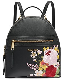 Calvin Klein Mercy Floral Leather Backpack
