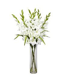 Nearly Natural Large Gladiola w/ Cylinder Vase Silk Arrangement