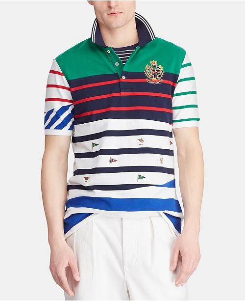 19d65838b4 Men's Classic-Fit Embroidered Crest Mesh Polo Shirt