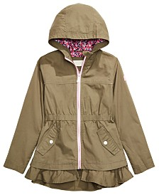 Michael Kors Big Girls Hooded Ruffled-Hem Jacket