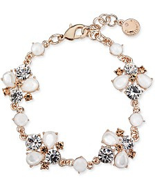 Charter Club Rose Gold-Tone Crystal & Stone Link Bracelet, Created for Macy's
