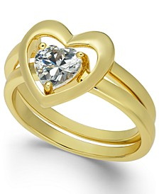 Gold-Tone Crystal Heart Double-Band Ring, Created for Macy's