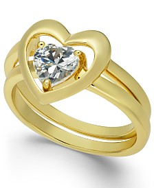 Charter Club Gold-Tone Crystal Heart Double-Band Ring, Created for Macy's