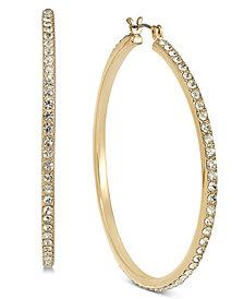 """INC Large Pavé Medium Hoop Earrings , 2"""", Created for Macy's"""