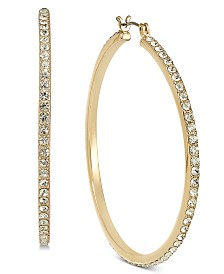 "I.N.C. Large Pavé Hoop Earrings, 2"", Created for Macy's"