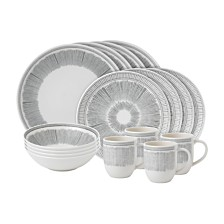 ED Ellen DeGeneres Crafted by Royal Doulton Charcoal Grey Lines 16 Pc Dinnerware Set