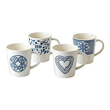 Crafted by Royal Doulton Blue Love Mug, Set of 4