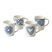 ED Ellen DeGeneres Crafted by Royal Doulton Blue Love Mug, Set of 4