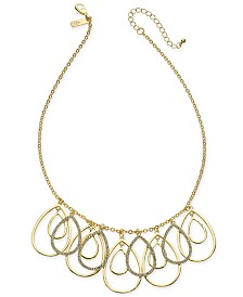 "I.N.C. Gold-Tone Pavé Tear-Shape Shaky Statement Necklace, 21"" + 3"" extender, Created for Macy's"