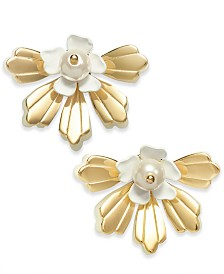 I.N.C. Gold-Tone & Imitation Pearl Flower Stud Earrings, Created for Macy's