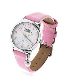 Children's Sleeping Bunnies Silver Steel Case and Pink Leather Watch 28mm