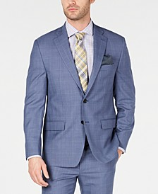 Men's Classic-Fit UltraFlex Stretch Light Blue Glen Plaid Suit Jacket