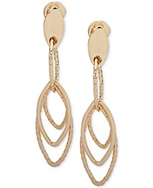 Gold-Tone E-Z Comfort Clip-On Large Linear Drop Earrings