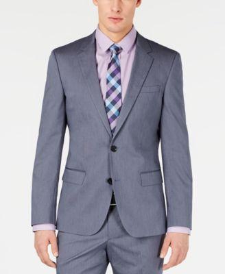 HUGO Hugo Boss Men's Slim-Fit Stretch Navy Vertical Stripe Suit Jacket
