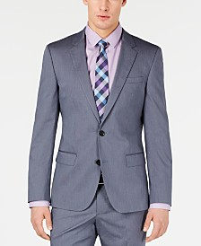 HUGO Hugo Boss Men's Slim-Fit Stretch Navy Vertical Stripe Suit Jacket