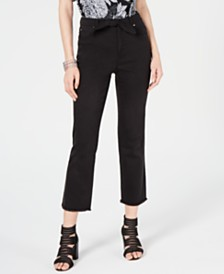 I.N.C. Tie-Waist Raw-Hem Ankle Straight Jeans, Created for Macy's