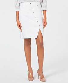 INC Button-Front Jean Skirt, Created for Macy's