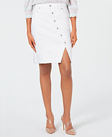 I.N.C. Button-Front Jean Skirt, Created for Macy's