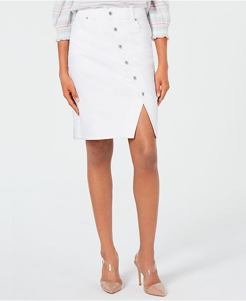 INC International Concepts I.N.C. Button-Front Jean Skirt, Created for Macy's