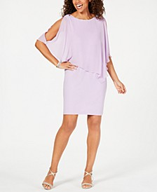 Rhinestone-Trim Chiffon Popover Dress