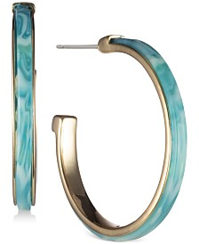 "DKNY Gold-Tone & Stone Medium Open 1-2/5"" Hoop Earrings, Created for Macy's"
