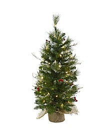 3-Ft. Christmas Tree with Clear Lights Berries and Burlap Bag