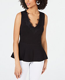 I.N.C. Lace-Trim Peplum Sleeveless Sweater Top, Created for Macy's