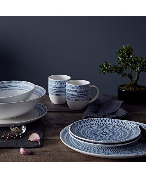 ED Ellen Degeneres Crafted by Royal Doulton Cobalt Blue Chevron Dinnerware Collection