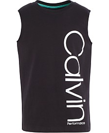 Calvin Klein Performance Big Girls Oversized Logo-Print Cotton Tank Top