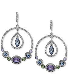 Givenchy Silver-Tone Multi-Crystal Orbital Extra Large Drop Earrings