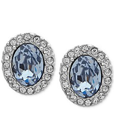 Givenchy Silver-Tone Crystal & Stone Extra Small Button Earrings