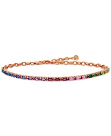 Multi Gemstone Rainbow Bracelet in 14k Strawberry Gold®