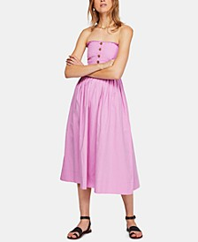 Lilah Cotton Pleated Strapless Midi Dress