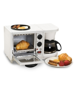 Elite Cuisine 3 in 1 Breakfast Center - Coffee, Toaster Oven, Griddle