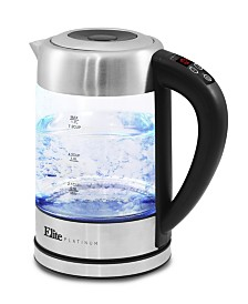 Elite Platinum 1.7L - 7.2 Cup Electric Programmable Cordless Glass Kettle