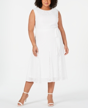 Taylor Trendy Plus Size Swiss-Dot & Lace Midi Dress In Ivory | ModeSens