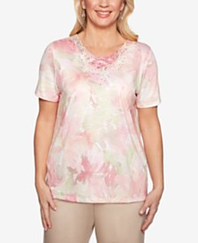Alfred Dunner Petite Society Pages Appliqué-Trim Printed Top