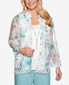 Alfred Dunner Petite Versailles Necklace Shirt & Camisole