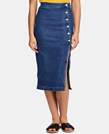Free People Jasmine High-Waisted Denim Pencil Skirt
