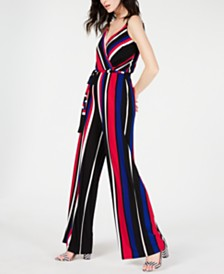 I.N.C. Sleeveless Surplice Striped Jumpsuit, Created for Macy's