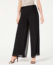 Mesh-Overlay Wide-Leg Pants