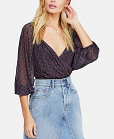 Free People Printed Surplice Blouson Top
