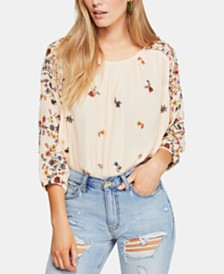 Free People Wild Flowers Printed Peasant Blouse
