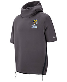 Nike Men's Los Angeles Rams Super Bowl LIII Bound Media Day Therma Short Sleeve Hoodie