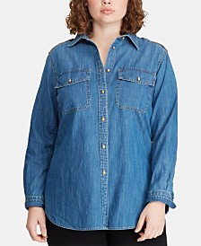 fd6a1a54952 Lauren Ralph Lauren Plus Size Denim Cotton Shirt